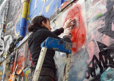 """Street art (stencil), rue Dénoyez- Residency Paris, 20e arr.- Galerie """"Friches et Nous la Paix""""- 02.2015"""