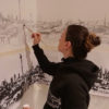 Workinprogress Wall painting in Commodus, architect office (Berlin-Neukölln)- Skyline of Berlin (Urban Sketch of the Berliner Panorama in Klunkerkranich)