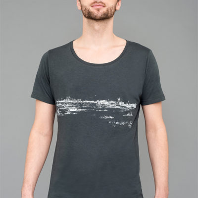 Face-T-shirt Bamboo Wide neck - Tempelhofer Feld - Man-grey