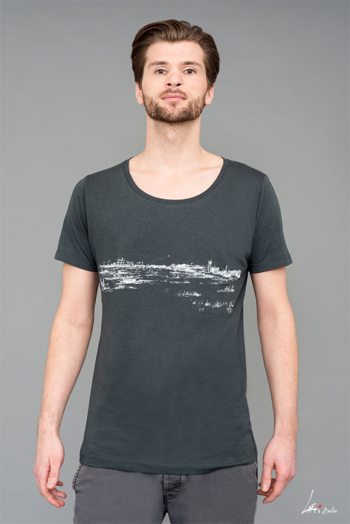 Face-T-shirt Bamboo Wide neck - Tempelhofer Feld - Man-grey