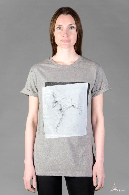 T-shirt Electric Dancer Rolled Sleeve Melange grey White on black print Unisex