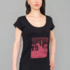T-shirt Cuvrystrasse Long black Scooped neck Red print Woman