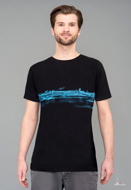 T-shirt Black -Man- Tempelhof- Blue print