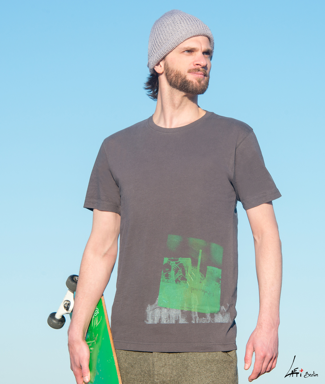 T-shirt Cuvrystr. / Anhalter BhfVintage charcoal- Green / silver print Man