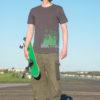 T-shirt Cuvrystr. / Anhalter BhfVintage charcoal- Green / silver print Man- Tempelhofer Feld