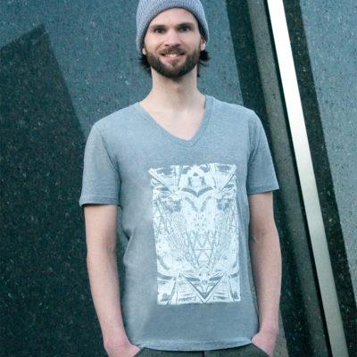 T-shirt Alliage Symetrie Melange grey V-Neck Man- zoom