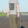 T-shirt Electric Dancer Rolled Sleeve Melange grey Black silver on white print Unisex