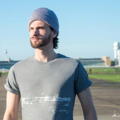 T-shirt Tempelhofer Park Rolled Sleeve Melange grey white print Unisex