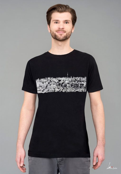 T-shirt Panorama Berlin - Klunkerkranich Black White print Man
