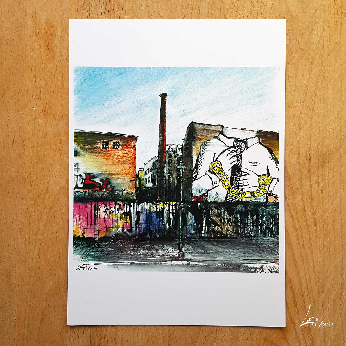Cuvrystr. Poster A4 - urbansketch of Berlin - print signed and limited