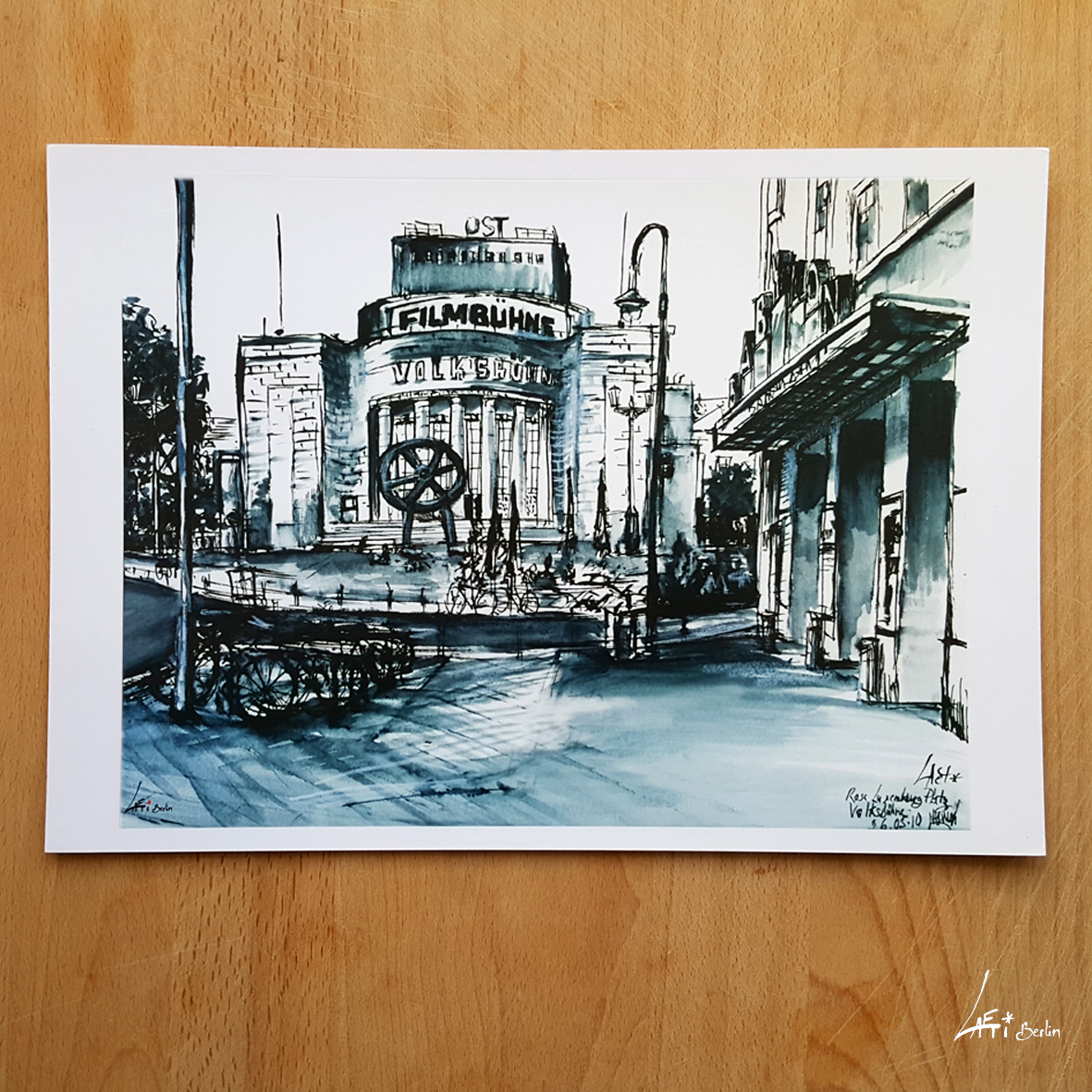 Volksbühne-poster-A4-urbansketche-Berlin-print-signed-limited