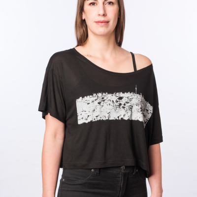 Klunkerkranich-FACE-T-shirt Tencel -BLACK- Woman