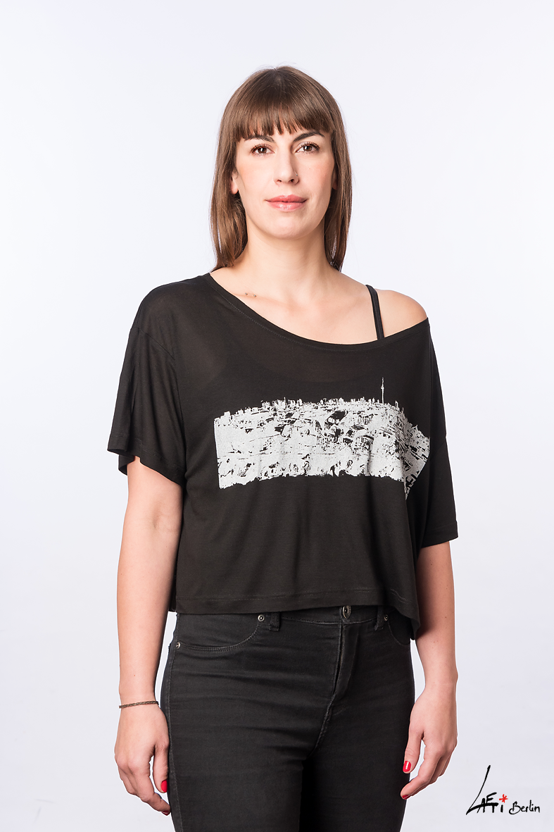 Klunkerkranich-FACE-T-shirt cropped -BLACK- Woman