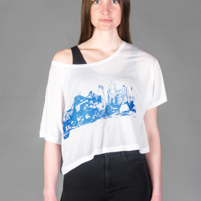Potsdamer Platz blue-FACE-T-shirt Tencel -WHITE- Woman