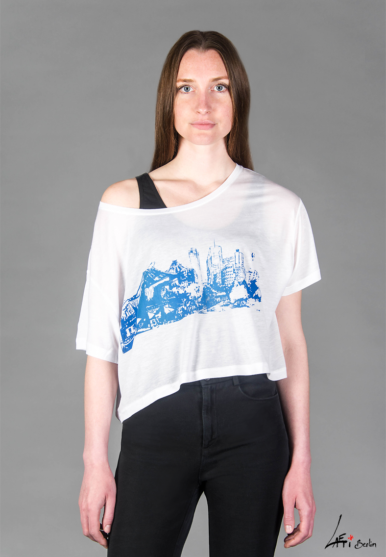 T-shirt Potsdamer Platz Berlin / blue-FACE-Tencel -WHITE- Woman