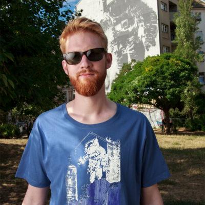 T-shirt-Man--Unisex-BLUE-Astr.-Kosm.-Jannick-Face