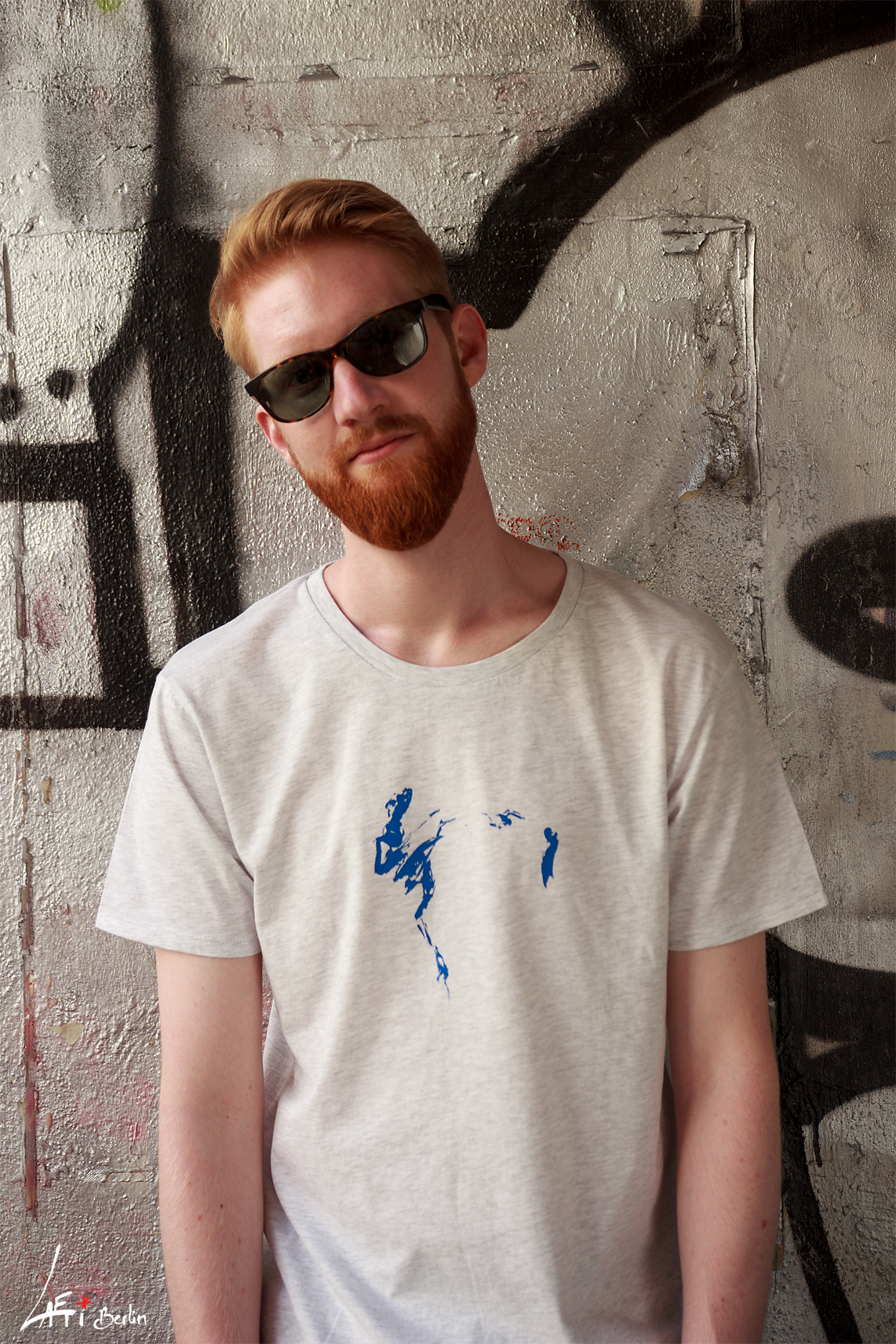 T-shirt-Unisex-Danseur Veloute- White-Mel, Print-Blue-2