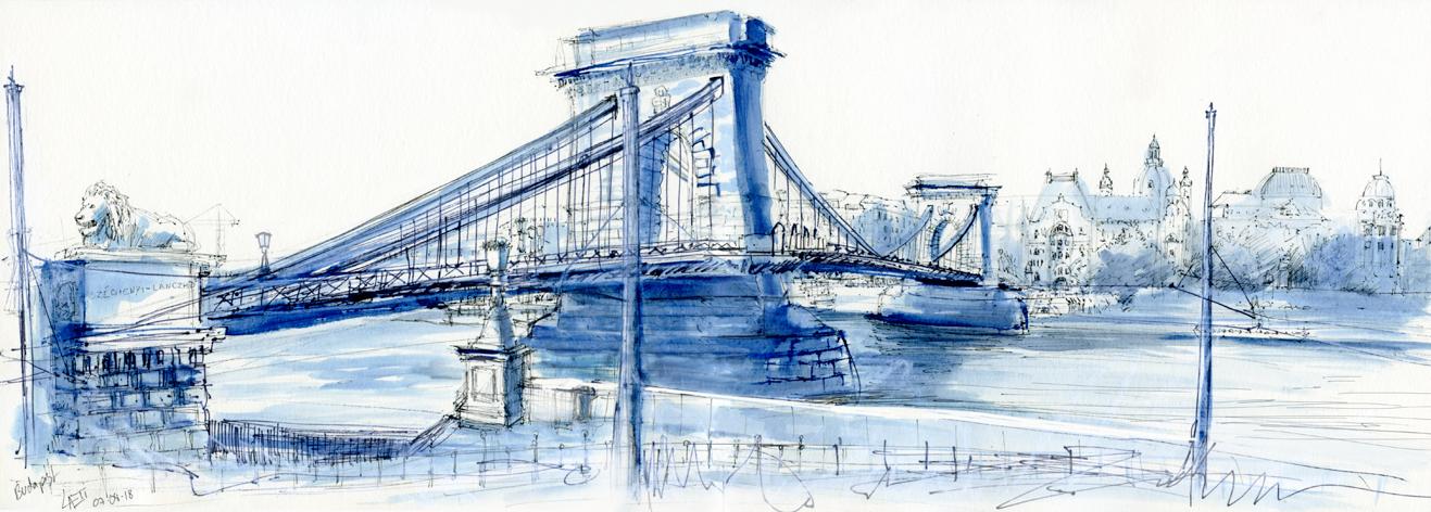 """07.08.18- """"Chain bridge"""" (Skéchenyi Lánchíd)- Danube, Budapest (Hungary)"""