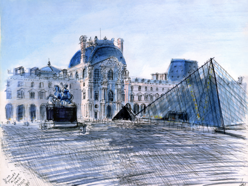 29.03.19- 30 ans Pyramide du Louvre, Installation JF (Paris- 1er arr., Fr.)