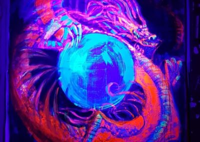 Live painting 3 with black light - Dragon