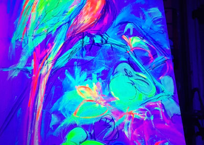 Exotic Perrot 2 - Live painting 1 with blacklight- Ritterbutzke-25.08.19
